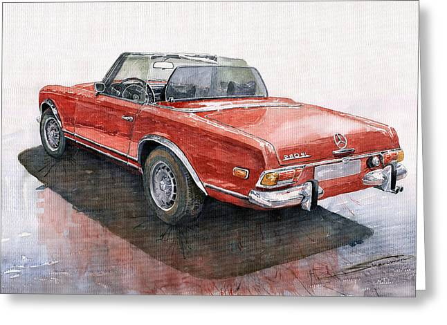 Auto Paintings Greeting Cards - Mercedes Benz W113 SL280 Greeting Card by Yuriy  Shevchuk