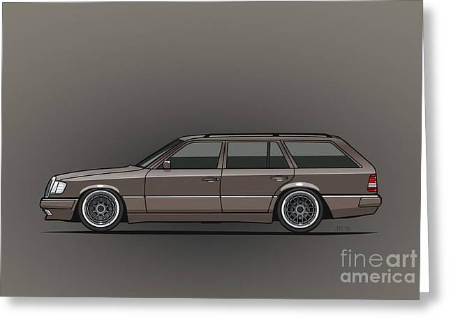 Mercedes Benz W124 E-class 300te Wagon - Anthracite Grey Greeting Card