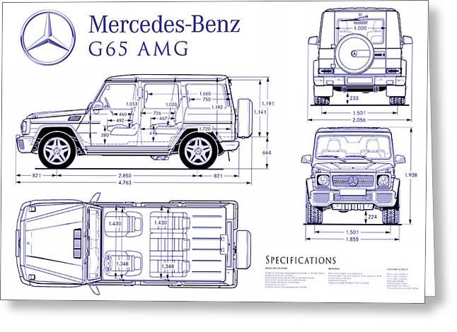 Mercedes G65 Amg Blueprint Greeting Card