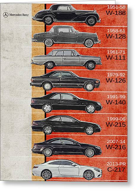 Mercedes S Class Coupe Generations - Mercedes Benz - Timeline - Mercedes - Mercedes Poster - Mercede Greeting Card
