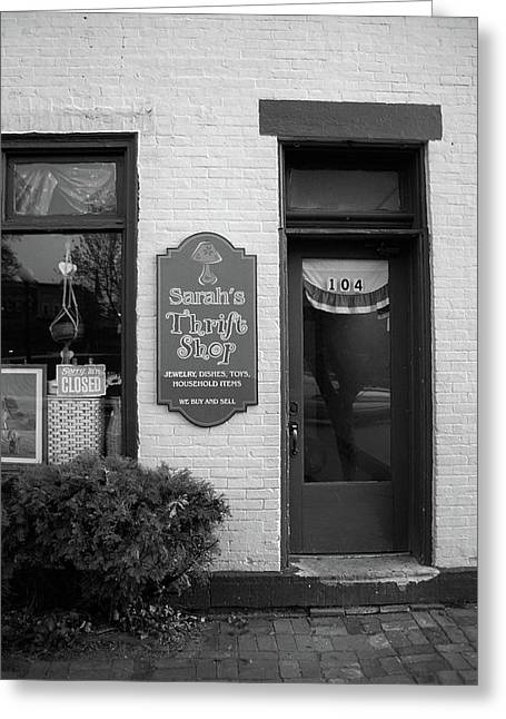 Mercer, Pa - Thrift Store 2008 Bw Greeting Card by Frank Romeo