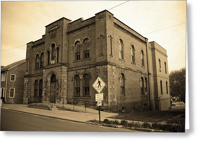 Mercer, Pa - Vintage Building 2008 Sepia Greeting Card by Frank Romeo