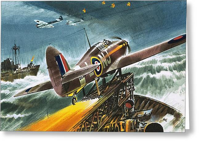 Merchant Navy Fighter Greeting Card by Wilf Hardy