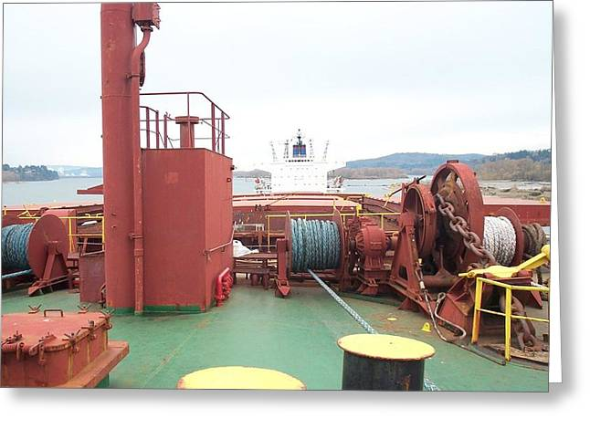 Merchant Vessel Deck Greeting Card by Alan Espasandin