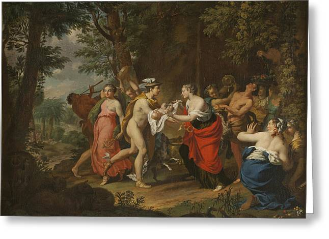 Mercury Confiding The Child Bacchus To The Nymphs On Nysa Greeting Card by Carl Marcus Tuscher