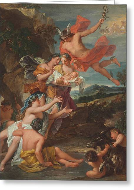 Mercury Entrusting The Infant Bacchus To The Nymphs Of Nysa Greeting Card