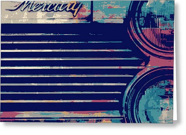 Mercury Headlights Vintage Greeting Card by Brandi Fitzgerald