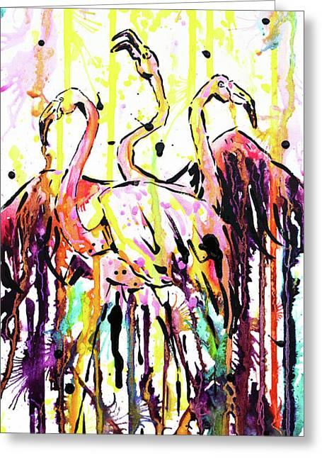 Greeting Card featuring the painting Merging. Flamingos by Zaira Dzhaubaeva