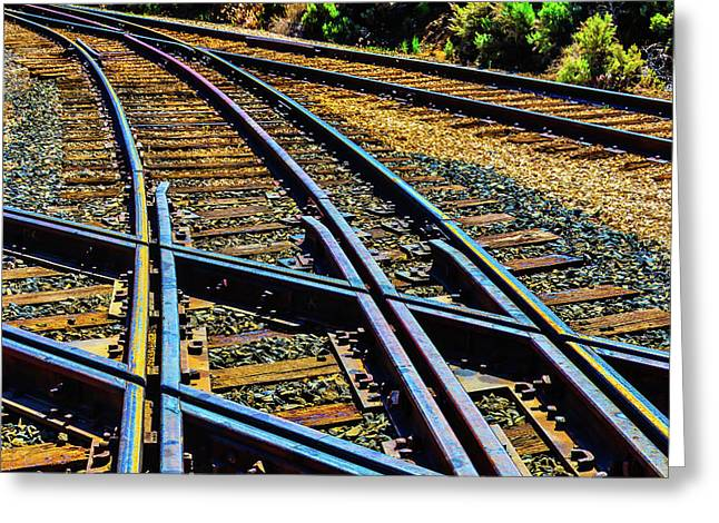 Merging Tracks Greeting Card by Garry Gay