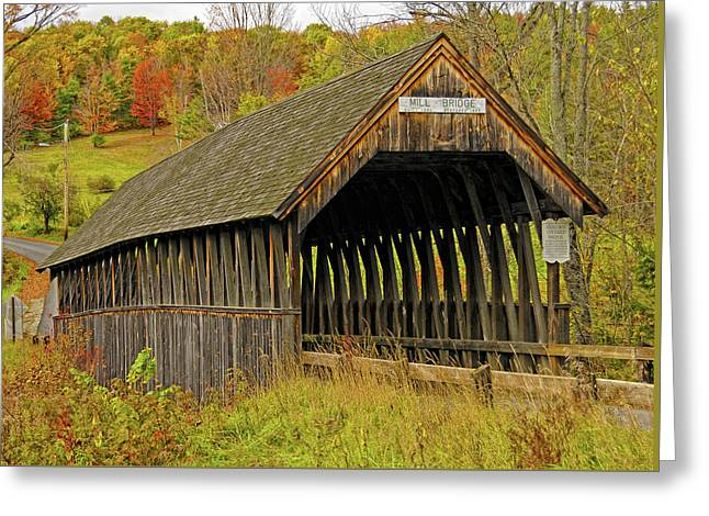 Meriden Covered Bridge Greeting Card by Liz Mackney