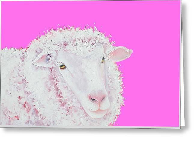 Merino Sheep On Hot Pink Greeting Card
