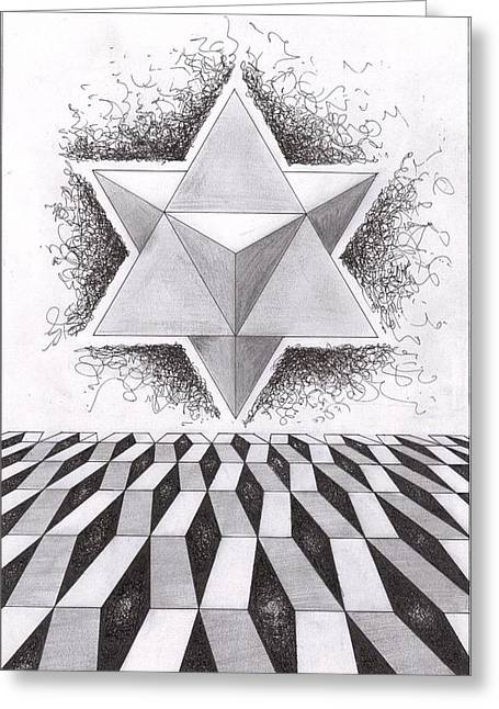 Sacred Drawings Greeting Cards - Merkabah study III Greeting Card by Geoffroy Dextraze