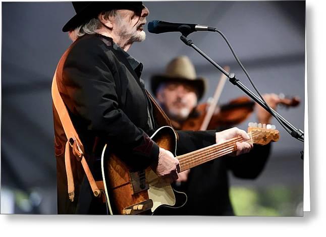 Merle Haggard At Music Festival  Greeting Card by Garland Johnson