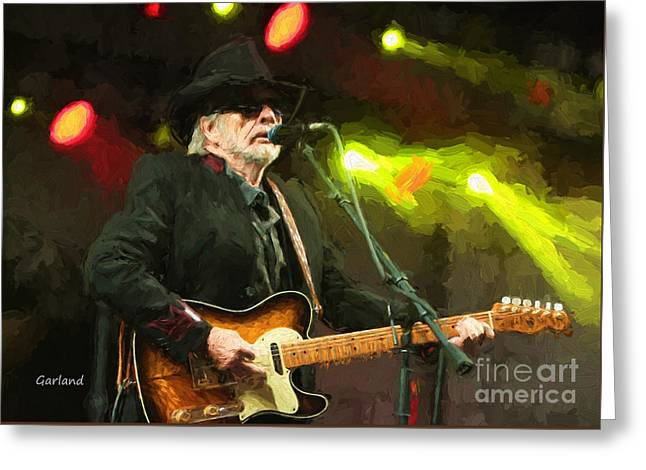 Merle Haggard In Concert Greeting Card by Garland Johnson