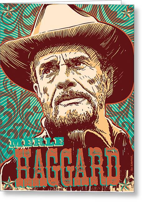 Merle Haggard Pop Art Greeting Card