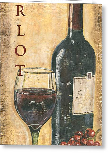 Merlot Wine And Grapes Greeting Card by Debbie DeWitt