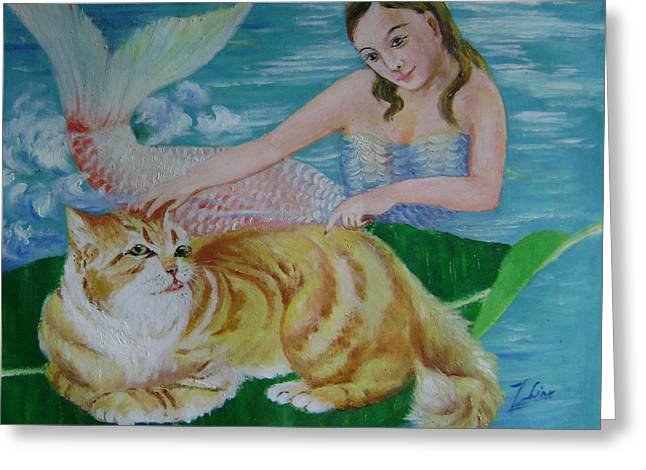 Mermaid And Cat Greeting Card by Lian Zhen