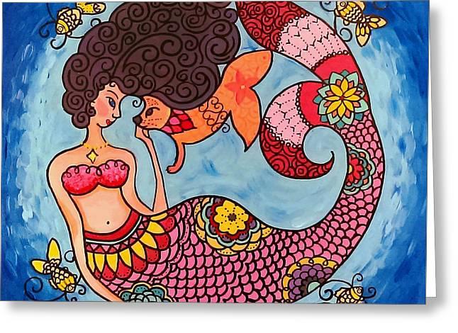 Mermaid And Catfish Greeting Card