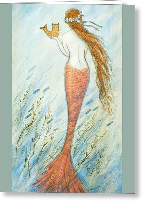 Mermaid And Her Catfish, Goldie Greeting Card