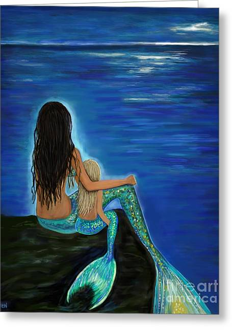 Greeting Card featuring the painting Mermaid And Her Daughter by Leslie Allen