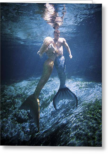 Mermaid And Merman Greeting Card by Steve Williams
