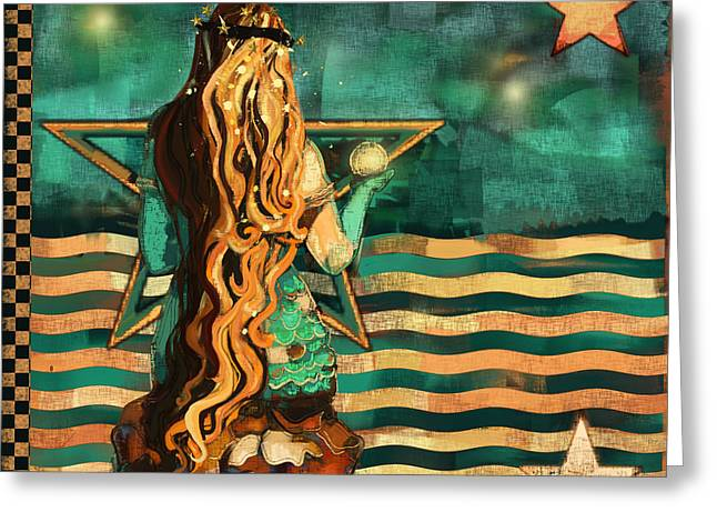 Mermaid And Stars By The Sea  Greeting Card by Carrie Joy Byrnes