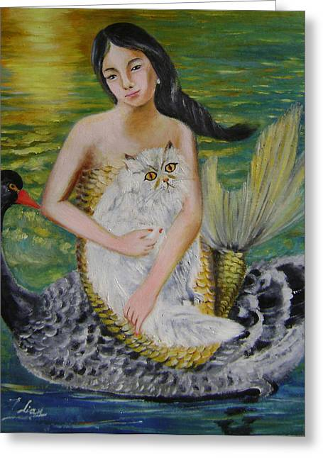 Mermaid And Swan Greeting Card by Lian Zhen