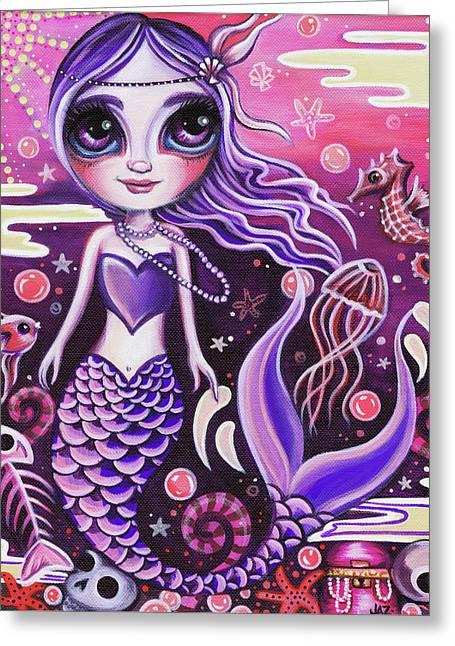 Mermaid At Dusk Greeting Card by Jaz Higgins