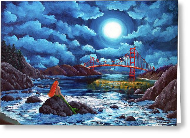 Mermaid At The Golden Gate Bridge  Greeting Card by Laura Iverson