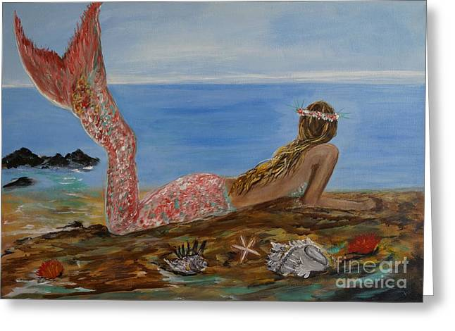 Mermaid Beauty Greeting Card by Leslie Allen