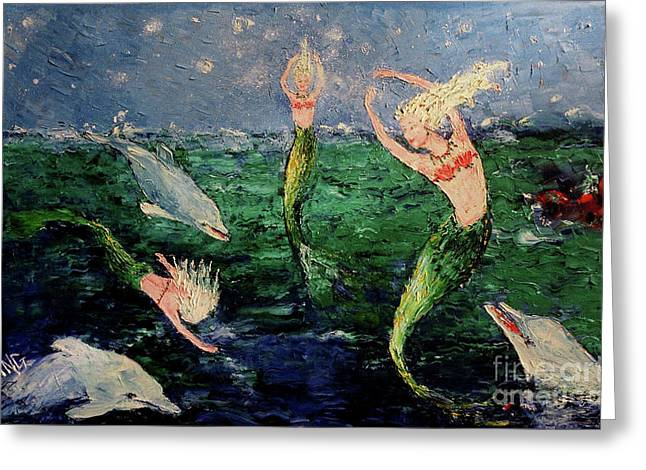 Mermaid Dance With Dolphins Greeting Card
