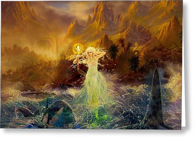 Greeting Card featuring the painting Mermaid Enchantress by Steve Roberts