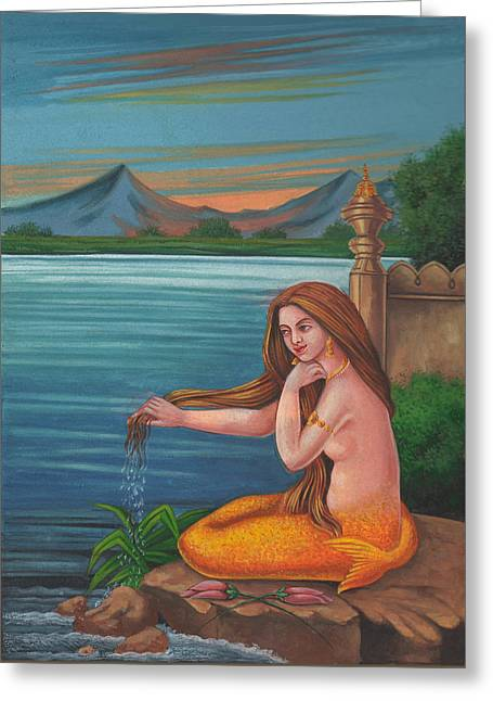 Mermaid Fish Woman Painting Mysterious Watercolor Artwork Greeting Card by A K Mundra