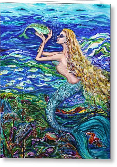 Mermaid Fishnet  Greeting Card by Yelena Rubin