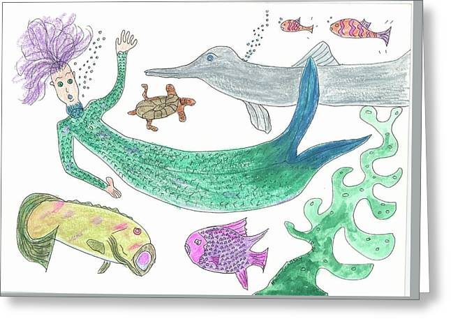 Mermaid Hello Greeting Card