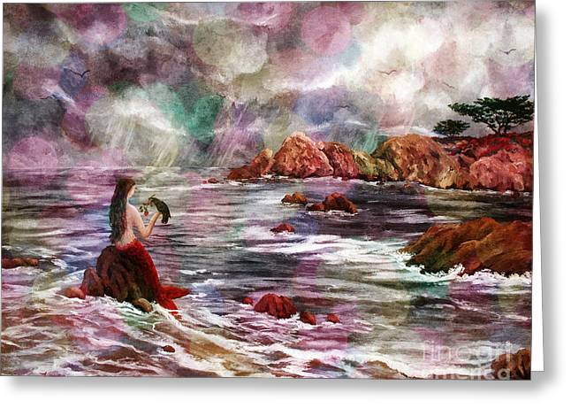 Monterey Greeting Cards - Mermaid in Rainbow Raindrops Greeting Card by Laura Iverson