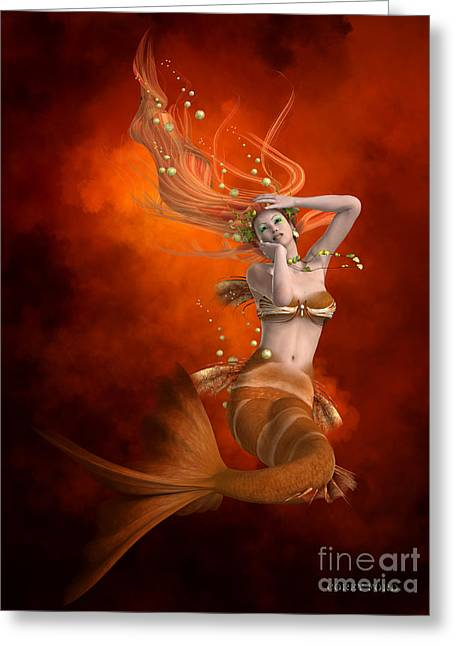 Mermaid In Red Greeting Card by Corey Ford