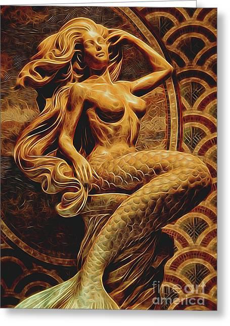 Mermaid Greeting Card by Kasia Bitner
