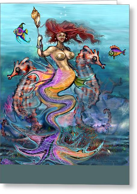 Greeting Card featuring the painting Mermaid by Kevin Middleton