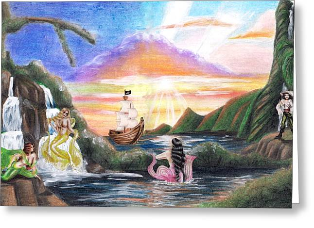 Pirate Ship Mixed Media Greeting Cards - Mermaid Lagoon Greeting Card by Scarlett Royal