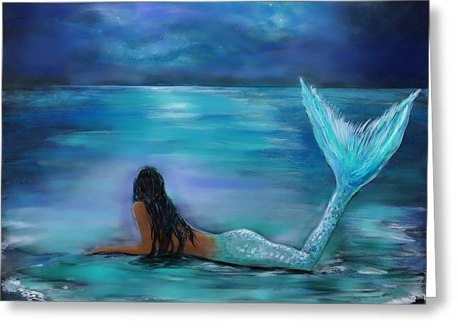 Mermaid Moon And Stars Greeting Card by Leslie Allen