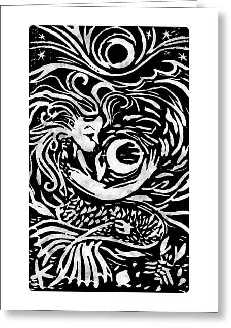 Mermaid Moon Greeting Card by Katherine Nutt