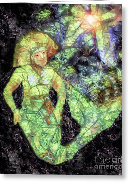 Mermaid On A Midnight Swim Greeting Card