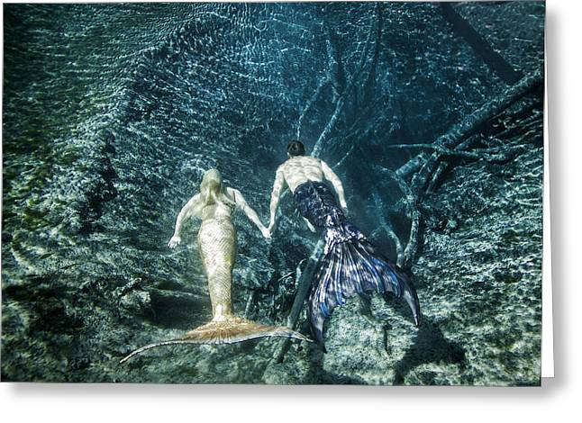 Mermaid Pair Greeting Card by Steve Williams