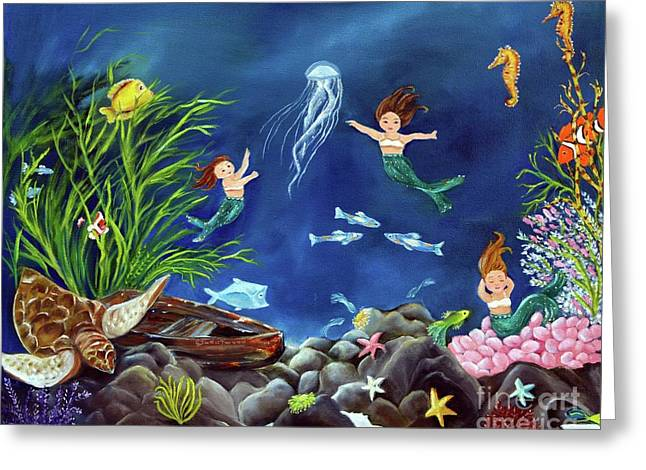 Greeting Card featuring the painting Mermaid Recess by Carol Sweetwood