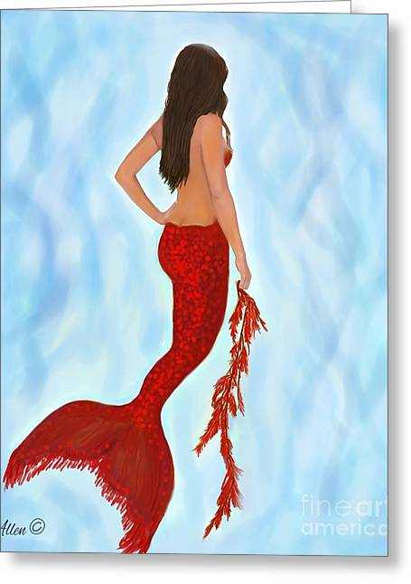 Greeting Card featuring the painting Mermaid Ruby by Leslie Allen