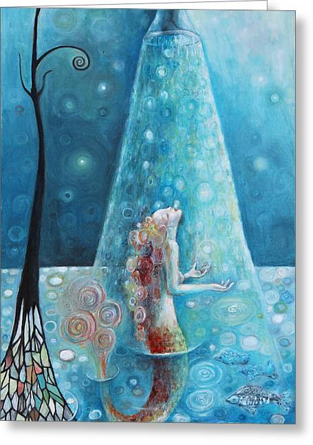 Mermaid Shower Greeting Card by Manami Lingerfelt