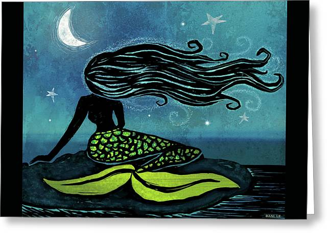 Mermaid Song Greeting Card by Little Bunny Sunshine