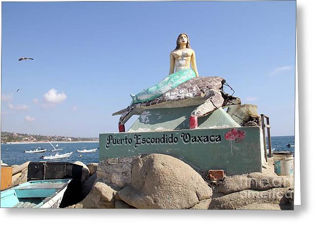 Mermaid Statue Puerto Escondido Oaxaca Mexico Greeting Card