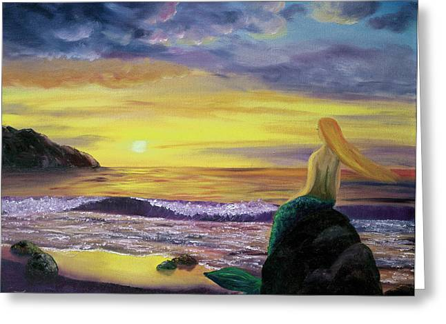 Mermaid Sunset Greeting Card by Laura Iverson